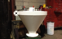 Round hopper – sandblasted and epoxy primed - painted white